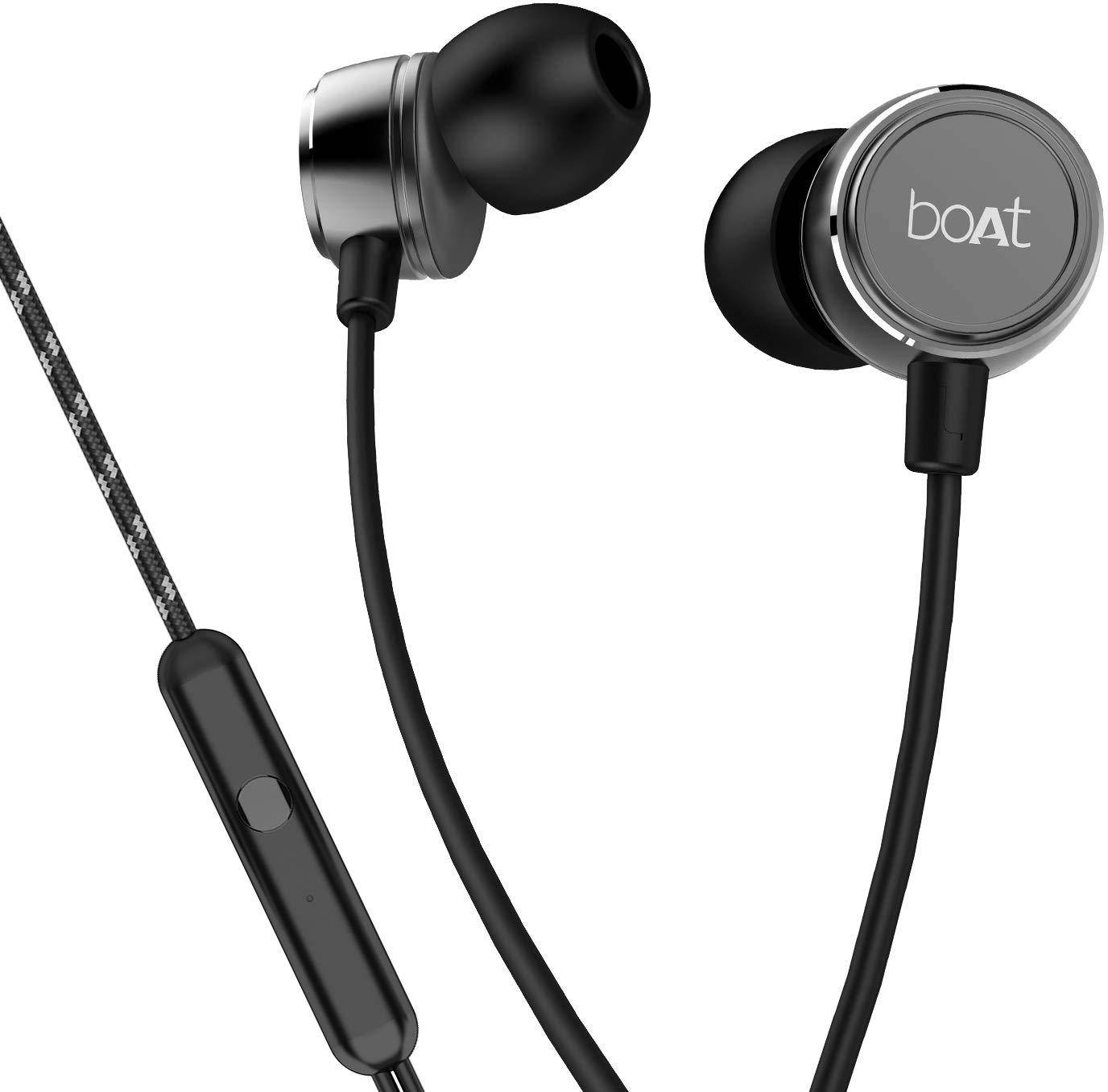 boAt BassHeads 172 with HD Sound, in-line mic, Dual Tone Secure Braided Cable & 3.5mm Angled Jack Wired Earphones  zoom image