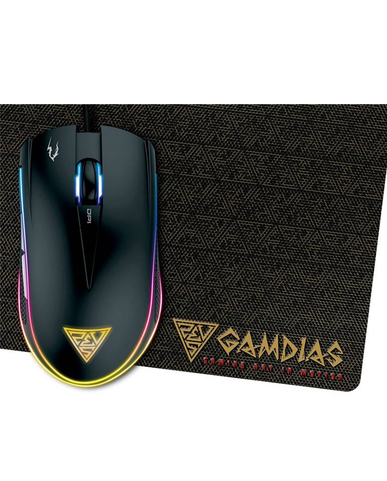 Gamdias Zeus E1 Gaming Mouse With Double Layer Equipped Mouse Pad  zoom image