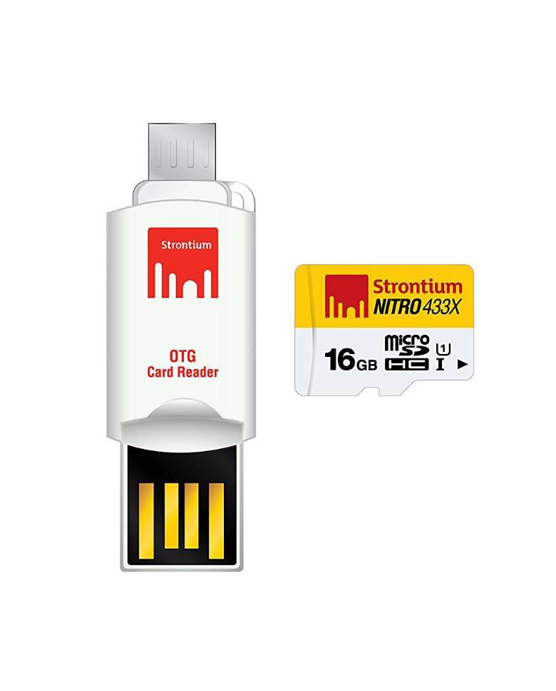 Strontium Nitro 433X 16GB MicroSD Card with OTG Card Reader zoom image